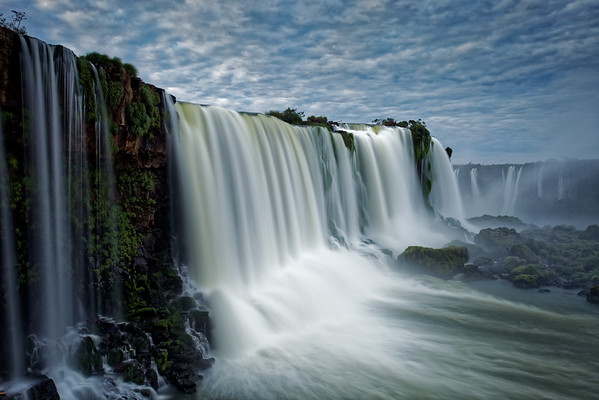 Close up view of Floriano Falls at Iguazu Falls in Brazil, dawn