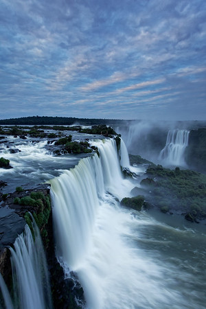 Dawn over Floriano Falls at Iguazu Falls in Brazil