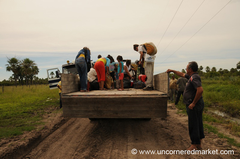 Piling onto the Truck - Vallemi to Concepcion, Paraguay