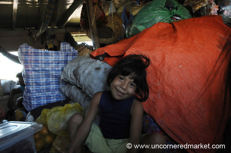 Balancing Against Potatoes - Boat Trip along Rio Paraguay, Paraguay