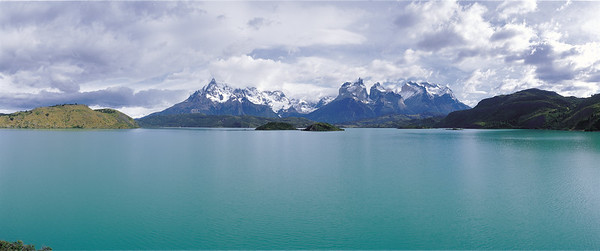 Paine Grande and Cuernos del Paine across Lago Pehoe Torres del Paine National Park, Patagonia, Chile