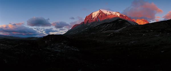 Monte Almirante Nieto and the peaks of Torres del Paine, sunrise. Torres del Paine National Park, Patagonia, Chile