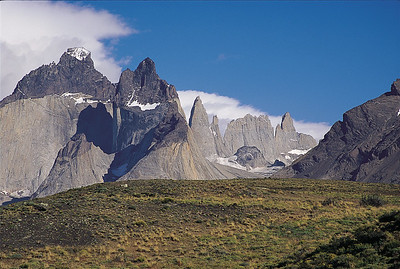 Cuernos del Paine and Towers of the Frenchman. Torres del Paine National Park, Patagonia, Chile