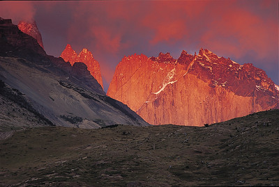 Torres del Paine and Cerro Nido de Condor, sunrise. Torres del Paine National Park, Patagonia, Chile