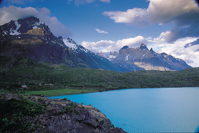 Evening light, Lago Pehoe with Paine Grande and Cuernos del Paine in background Torres del Paine National Park, Patagonia, Chile