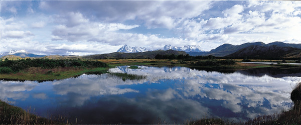 Paine massif reflected on small lake. Torres del Paine National Park, Patagonia, Chile