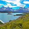 First view of Lake Pehoe and the Cordillera del Paine