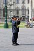 <center>Park Police Assists a Tourist with a Photo    <br><br>Lima, Peru
