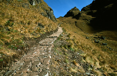 Trail ascending Warmiwanusq's Pass (Pass of the Dead Woman) Inca Trail to Machu Picchu