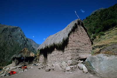 Adobe farm house along Inca Trail to Machu Picchu