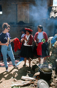Wool spinning at weekly market in Chinchero