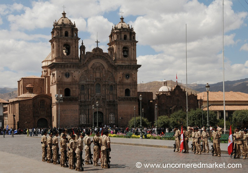 Getting Ready for a Parade - Cusco, Peru