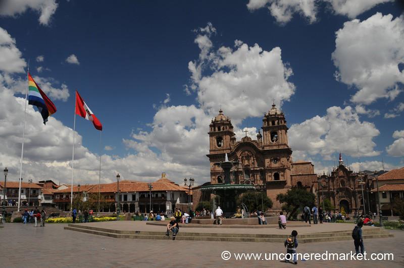 Walking Across the Plaza de Armas - Cusco, Peru