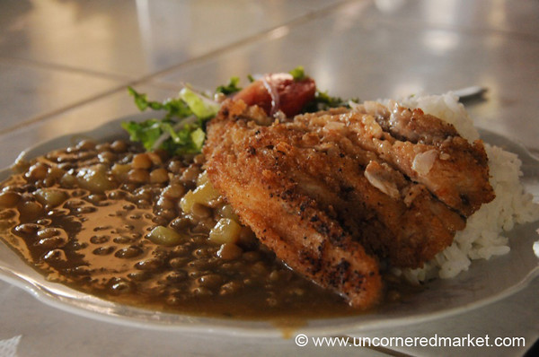 Fried Fish and Lentils - Cusco, Peru