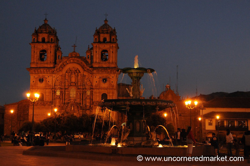 Fountain and Plaza de Armas at Night - Cusco, Peru
