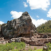 Hike in the Countryside<br /> The main feature of the unnamed archeological site is this rock, which was carved in situ to resemble Viracocha, the main deity of the Incas.