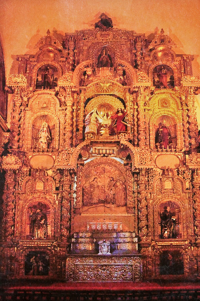 Cusco Cathedral (Cathedral of Santo Domingo)<br>Altar de la Sagrada Familia (Altar of the Sacred Family)<br> (Photography not allowed; scanned from postcard.)