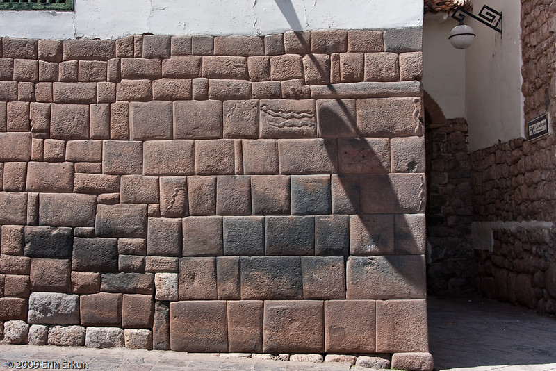 Plaza de las Nazarenas<br /> Siete Culebras is named for the House of the Serpents, which is an example of transitional architecture (built by Inca masons working for the Spanish conquistadors). The masons carved reliefs of snakes into the Inca wall that forms the base of the house.<br /> (The snake is the symbol of wisdom in Inca mythology.)