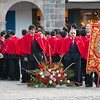 Procession of Señor de Los Temblores<br /> The officials who will be carrying the crucifix on the last leg of the procession to the Cusco Cathedral have gathered in readiness.