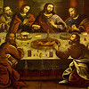 Cusco Cathedral (Cathedral of Santo Domingo)<br /> The Last Supper as depicted by Marcos Zapata, a Quechua artist from the Escuela Cusqueña.<br /> Escuela Cusqueña (Cusco School of Art) was established by the Spanish to educate the locals in the disciplines of European-style artwork. The Quechua artists were only allowed to paint scenes that carried European or Catholic significance and they were not permitted to sign their work. These artists sometimes found ways to incorporate Inca iconography into their work — such as the roasted cuy (guinea pig — a cultural delicacy still served today) and the bottles of chicha (a brew derived from fermented maize that was often used in rituals) incorporated into the painting of the Last Supper.<br /> <br /> (Photography not allowed; scanned from postcard.)
