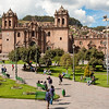 Cusco: Plaza de Armas<br /> Construction of the Cusco Cathedral started in 1550; it took nearly 100 years to complete.<br /> (The Church to the right is Iglesia del Triunfo - the Church of the Triumph.)
