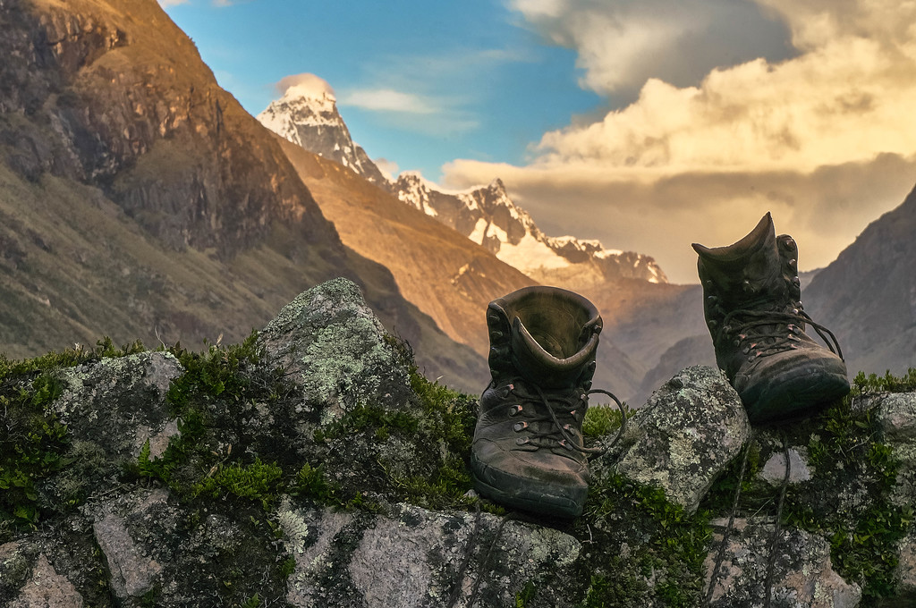 Edwin's boots get to rest during the Santa Cruz trek in Peru
