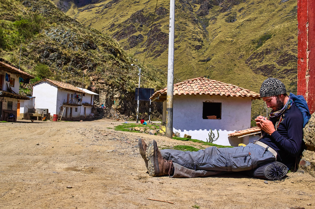 Edwin waiting for our ride out of Vaqueria in Peru