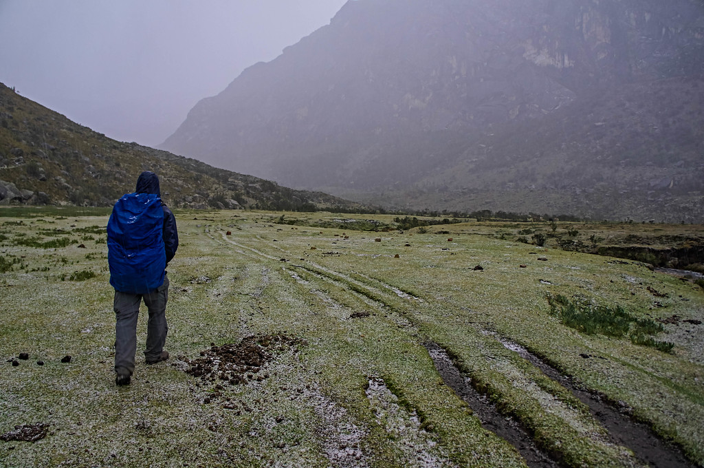 Bad weather on the Santa Cruz trek in Peru