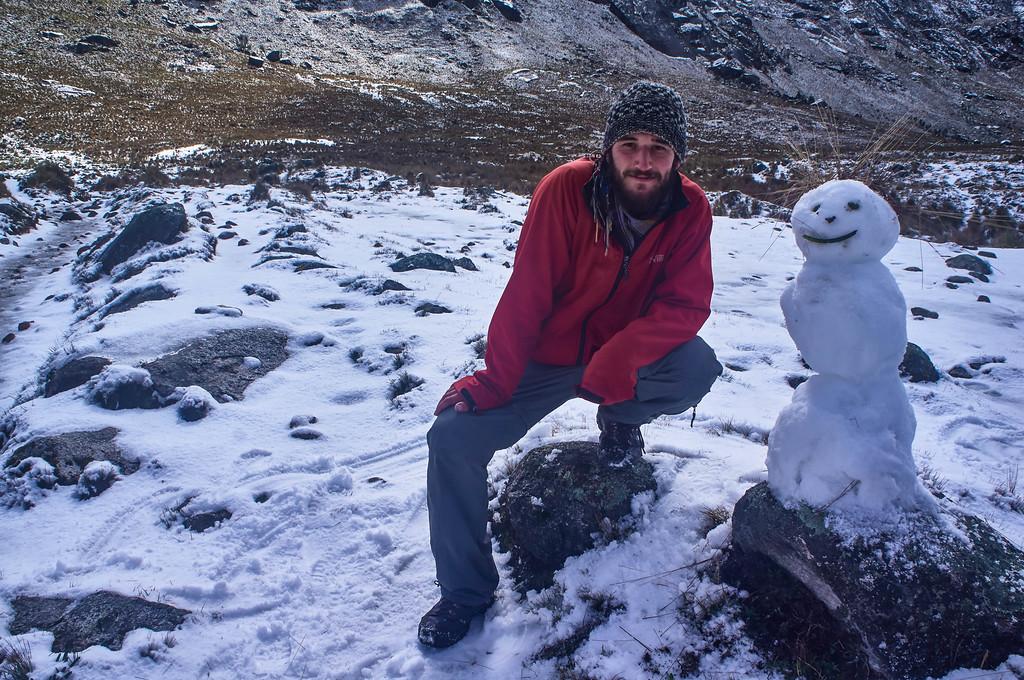 Edwin and snowman friend on the Santa Cruz trek in Peru