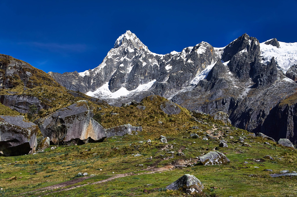 The view from the other side of the pass at the Santa Cruz trek in Peru