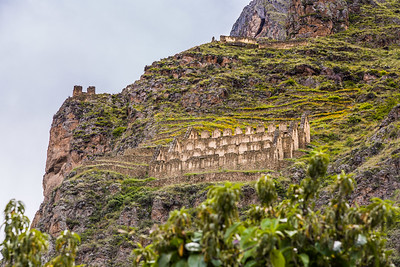 Inca storage buildings above the town of Ollantaytambo, Peru