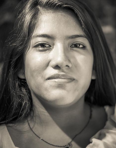 Beautiful portrait of a young Peruvian mum.