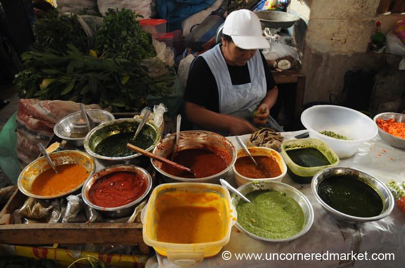 Aji Pepper Sauce Display - Cajamarca, Peru