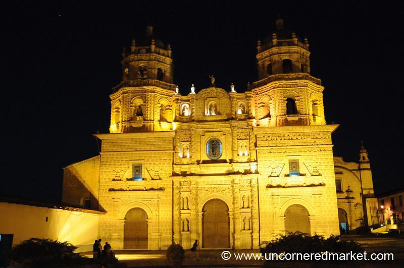 San Francisco Church at Night - Cajamarca, Peru