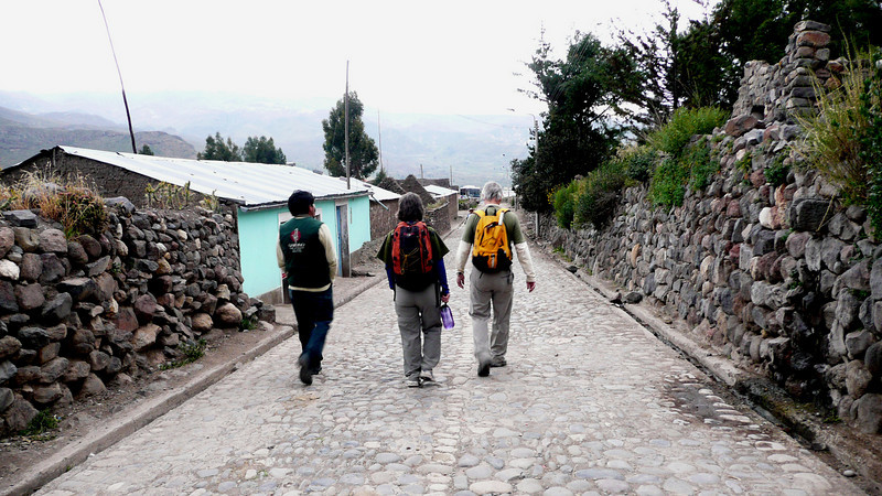 Touring small village on  with guide Wilfredo