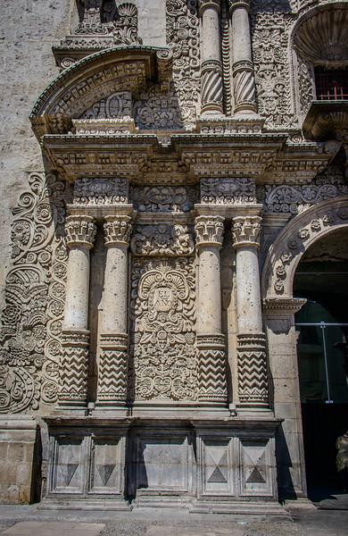 Iglesia de la Compania circa 1573 by Jesuits- elaborate plasteresque facade carved  of sillar stone