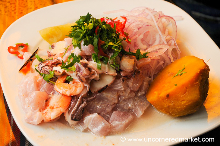 Mixed Seafood Ceviche at Surquillo Market - Lima, Peru