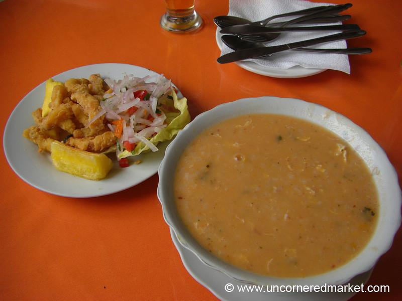 Chicharron de Calamar and Chupe de Pescado - Lima, Peru