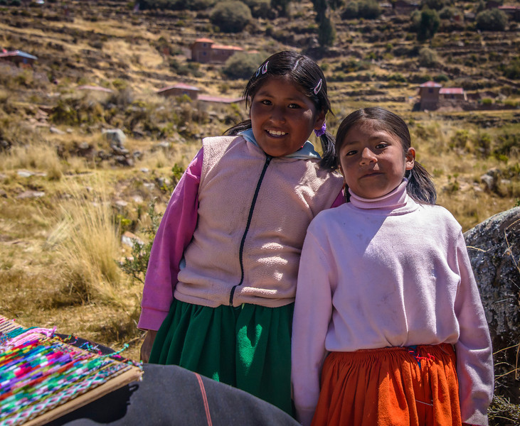 Young business girls on Isla Taquile