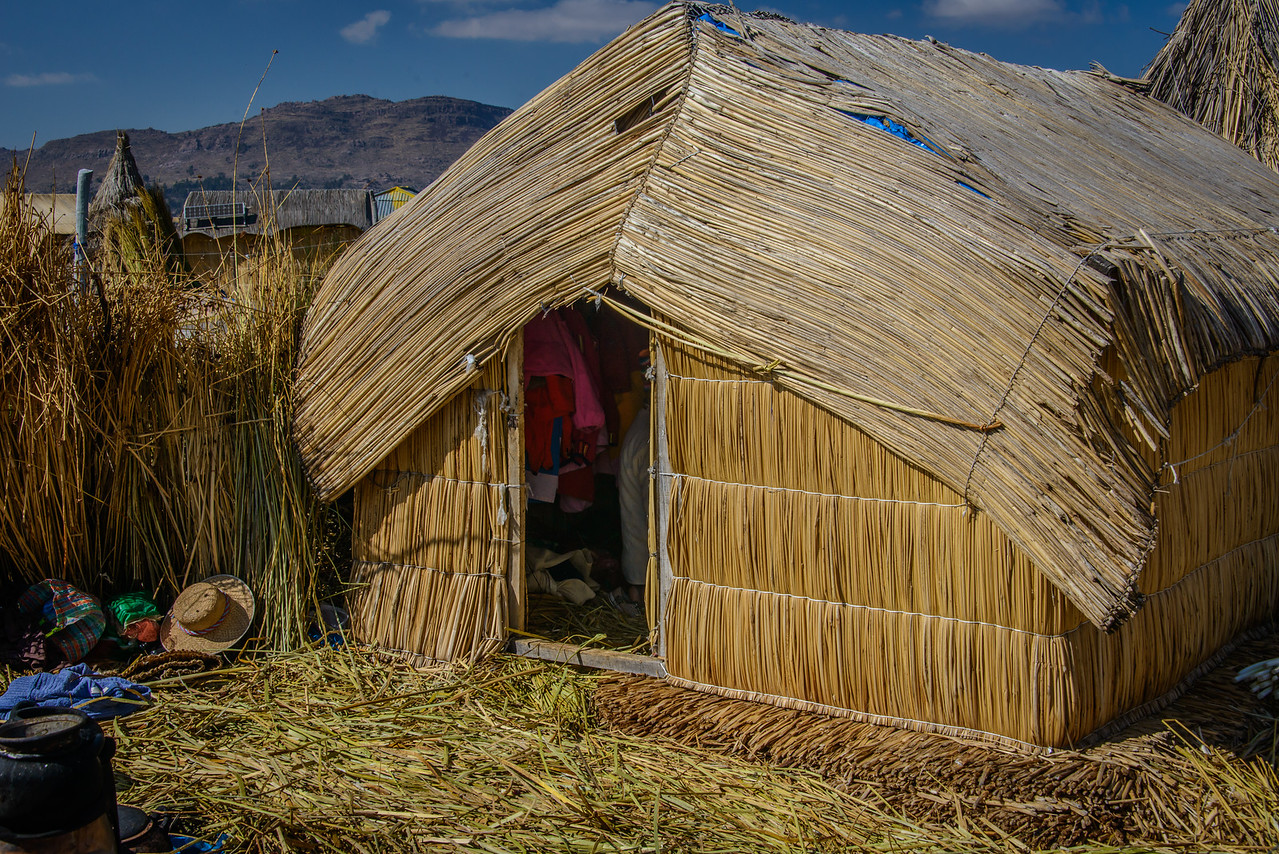 "Reed home of the ""President"" of Uros Island"
