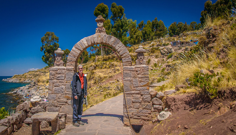 Isla Taquile -  22 miles east of Puno- beginning the climb up 533 steps to main square