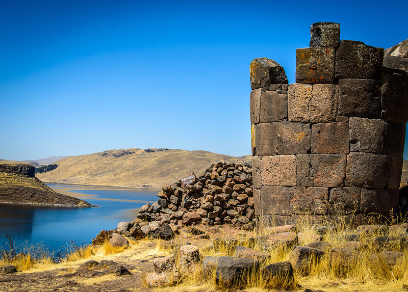Sillustani high above Lake Umayo