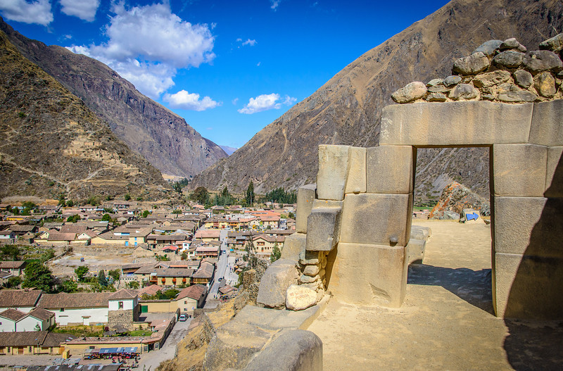 Ollantaytambo Village from Inca Ruins