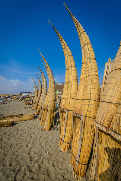 Reed Boats - Caballitos de totora - Huanchaco Peru- boats seen in Moche pottery