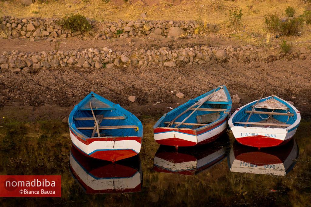Boats in Llachón, Peru