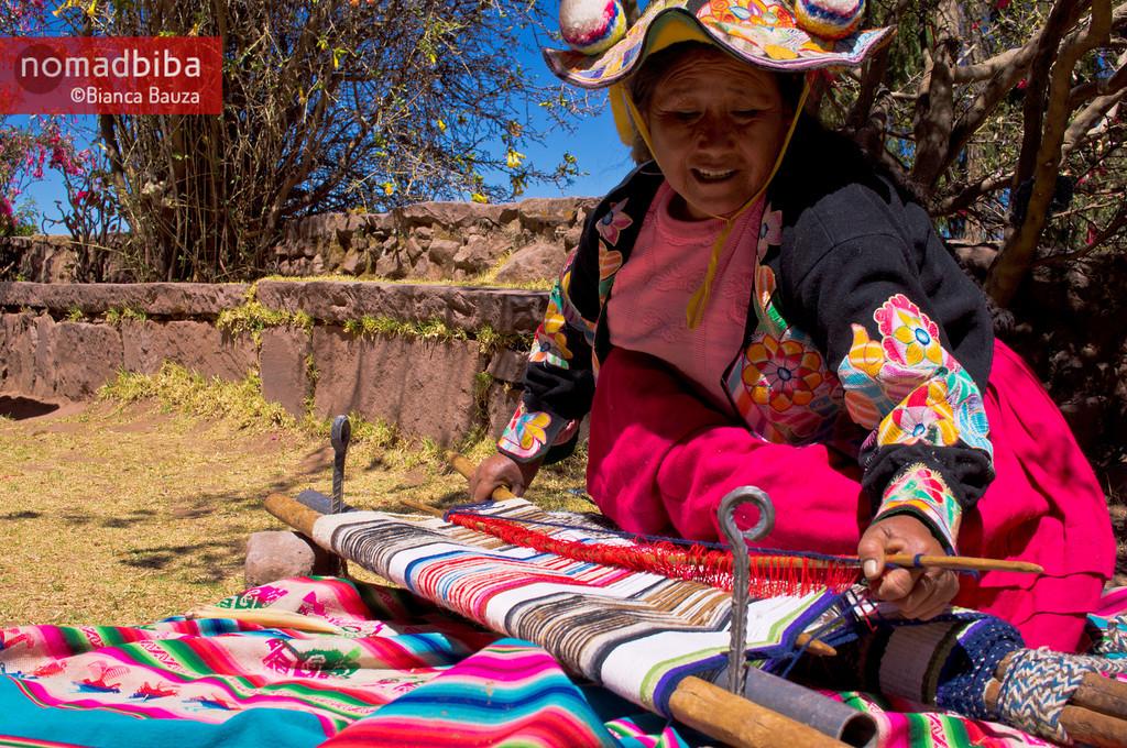 Woman weaving in Capachica near Puno, Peru