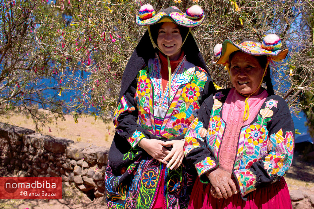 Wearing the traditional costume in Capachica, Peru