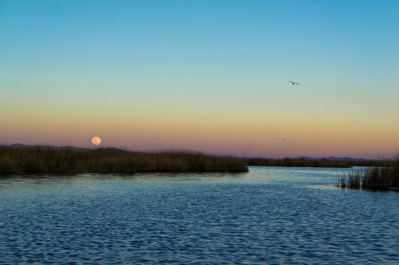 Full moon rising over Lake Titicaca, Peru