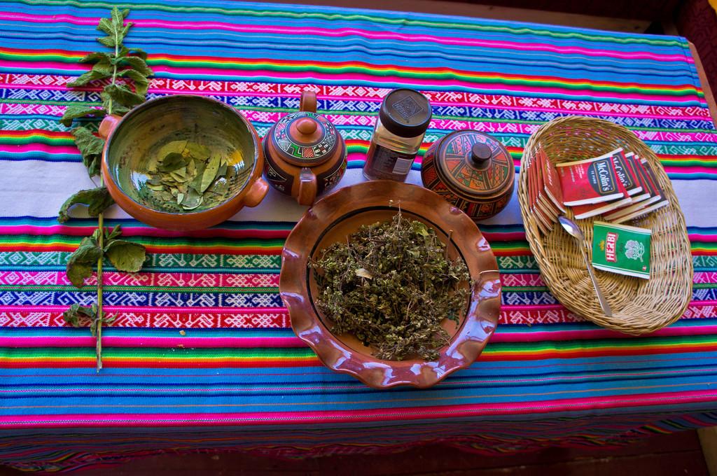Tea time in the Uros Islands, Peru