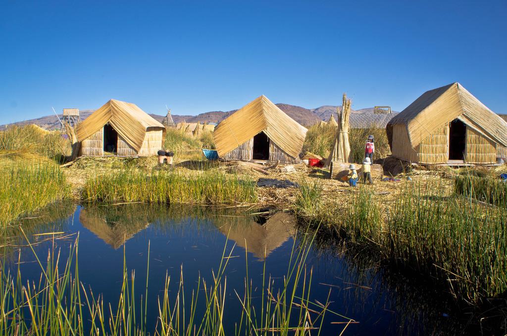 Totora houses in Lake Titicaca, Peru